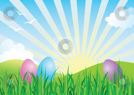 Colorful Easter Eggs in Spring Landscape stock vector clipart, Spring landscape with colorful Easter eggs in the foreground by Inge Schepers