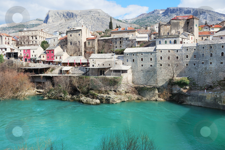 Mostar stock photo, Famous touristic place Mostar on a sunny winter day. by Ivan Paunovic