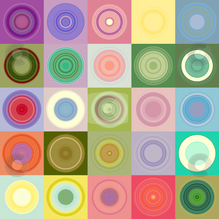 Rounds in blocks pattern stock photo, Texture of different draughts stones in pastel colored cubes by Wino Evertz