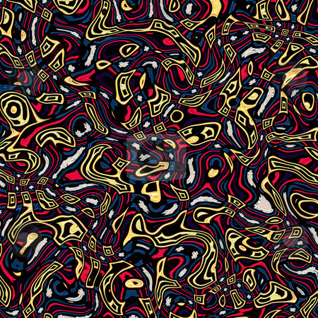 Swirling native pattern stock photo, Texture of abstract yellow, red and blue shapes in native style by Wino Evertz