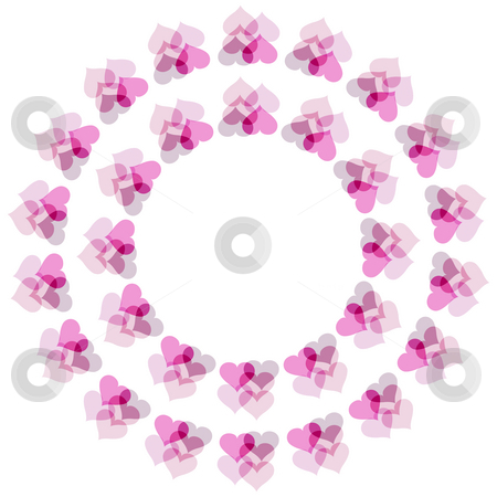 Flower of hearts pattern stock photo, Texture of two rings of hearts on white background by Wino Evertz