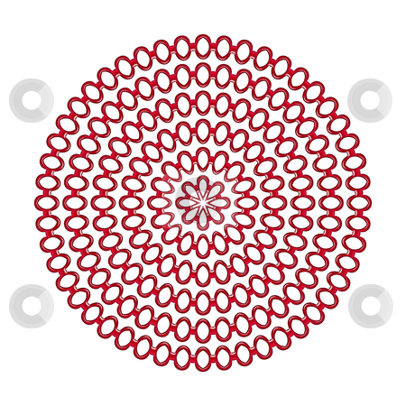 Red rings mandala pattern stock photo, Pattern of red 3d rings in circels on white by Wino Evertz