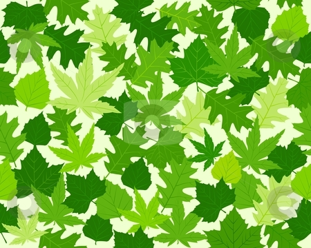 Green spring leaves texture seamless pattern stock vector clipart, Seamless pattern with oak, maple, beech and chestnut leaves in various shades of green. 8 global colors. by Ina Wendrock