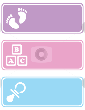 Baby Tags stock vector clipart, Tags with baby related icons on them, such as footprints, building blocks and a pacifier by Inge Schepers