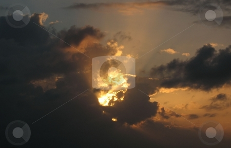 Caribbean Storm Approaching stock photo, While the sun was approaching the sunset, a storm was forming and moving closer. This was in the Caribbean. by Ray Carpenter