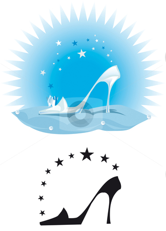 Crystal slipper stock vector clipart, Illustration of a crystal slipper on a pillow by Vanda Grigorovic