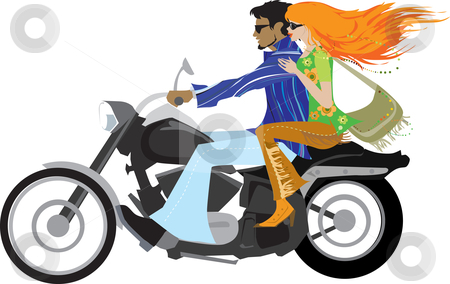 Retro couple on motorcycle stock vector clipart, Couple of 1970 on motorcycle by Vanda Grigorovic