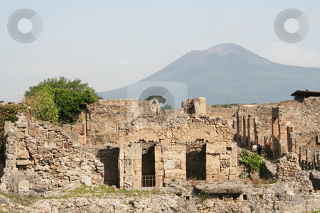 Pompeii & Vesuvius stock photo, Part of the ruins at Pompeii overlooked by the majestic Vesuvius by Helen Shorey