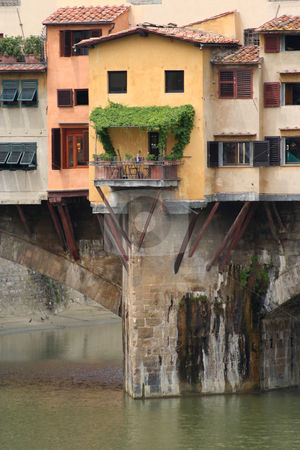 Ponte Vecchio detail stock photo, Close upof some of the buildings hanging off the Ponte Vecchio in Florence by Helen Shorey