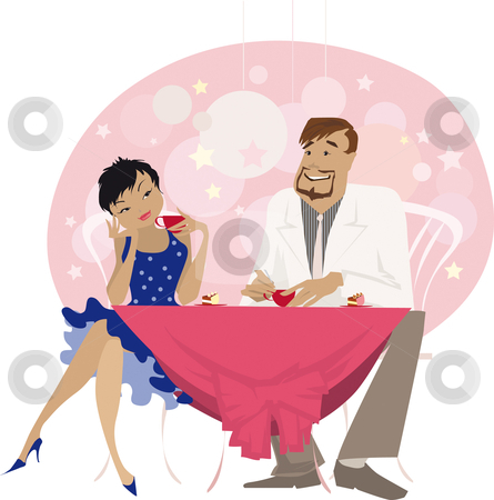 At cafe 3 stock vector clipart, A couple having a mug of coffee and talking at cafe by Vanda Grigorovic