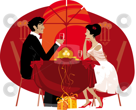 Couple at restaurant stock vector clipart, Couple at restaurant by Vanda Grigorovic