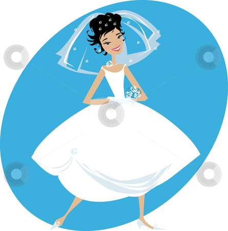 Bride stock vector clipart, Illustration of happy smiling bride by Vanda Grigorovic