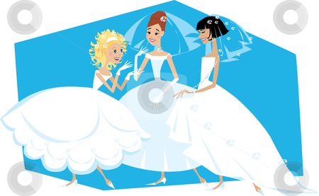Three brides stock vector clipart, Cartoon of three brides talking by Vanda Grigorovic