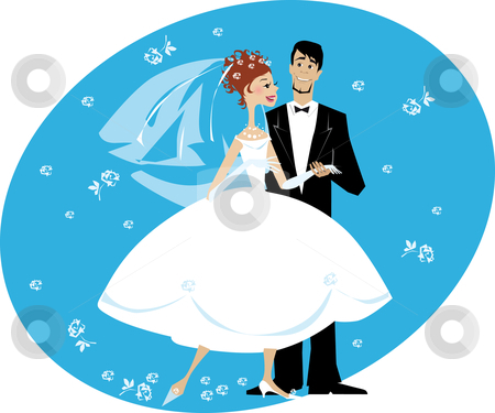 Newlyweds stock vector clipart, Cartoon illustration of newlyweds couple by Vanda Grigorovic