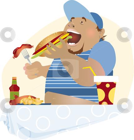 Snack stock vector clipart, Bg boy having unhealthy meal by Vanda Grigorovic