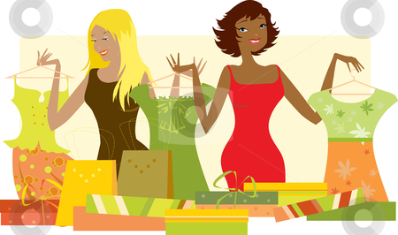 Women shopping for new clothes stock vector clipart, A vector illustration of a women shopping for new clothes. by Vanda Grigorovic