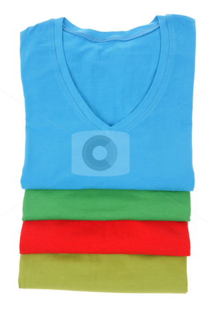 T-shirts stock photo, Colourfull women t-shirts  isolated on white background by Jolanta Dabrowska