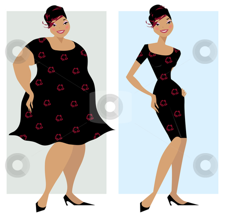 Before and after diet stock vector clipart, Changes in shape of a lady after diet by Vanda Grigorovic