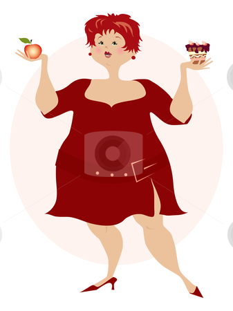 Choice stock vector clipart, Pretty lady is doing her decision what to eat by Vanda Grigorovic