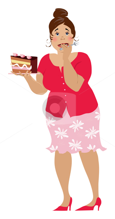 One more cake stock vector clipart, Lady doing very difficult decision by Vanda Grigorovic