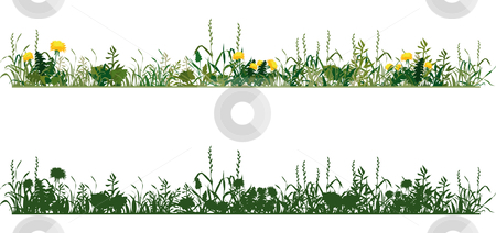 Meadow stock vector clipart, Herbs of meadow, dandelions in bloom by Vanda Grigorovic