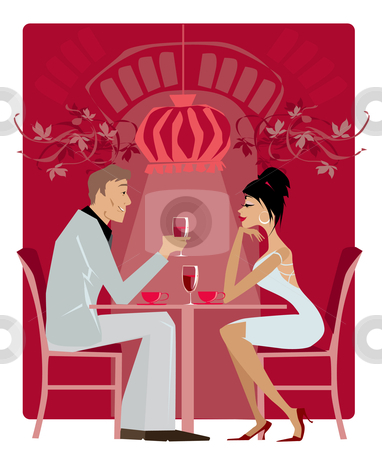 Restaurant1 stock vector clipart, Couple in the restaurant by Vanda Grigorovic