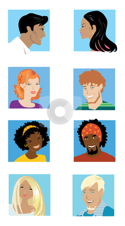 Couples 2 stock vector clipart, Guys and girls of differnt nations by Vanda Grigorovic