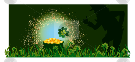 Golden pot stock vector clipart, Leprechaun near golden pot on St Patric's day by Vanda Grigorovic