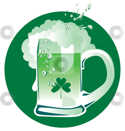 Green Patrick's beer stock vector clipart, A mug of green beer on Patrick's Day by Vanda Grigorovic