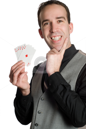 Royal Flush stock photo, Closeup of a young man wearing a suit and holding a royal flush with the suit of diamonds, isolated against a white background by Richard Nelson