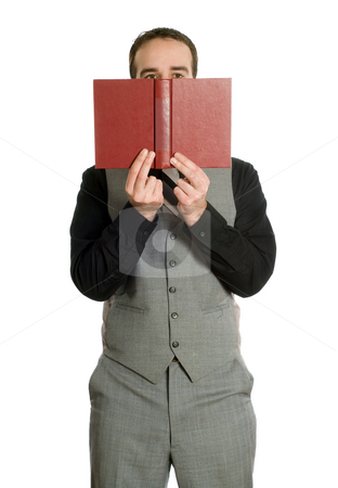 Reading A Novel stock photo, A young man wearing a grey suit is reading a novel, isolated against a white background by Richard Nelson