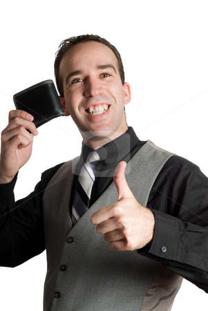 Successful Businessman stock photo, A successful businessman holding his wallet and giving a thumbs up, isolated against a white background by Richard Nelson