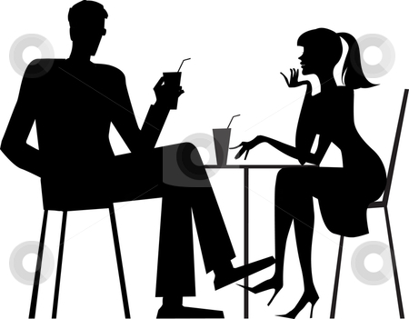 Silhouette of a couple at cafe stock vector clipart, Silhouette of a couple sitting at cafe by Vanda Grigorovic