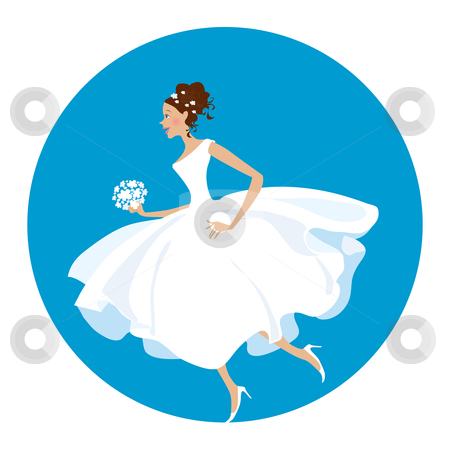 Bride is  in a hurry stock vector clipart, Nowadays bride - she is in a hurry as usual:) by Vanda Grigorovic
