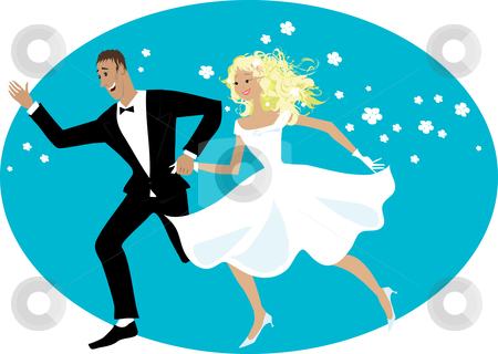 Happy newlyweds stock vector clipart, Happy newlyweds running by Vanda Grigorovic
