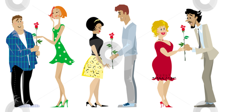 Valentine couples stock vector clipart, Three romantic couples on Valentine Day by Vanda Grigorovic