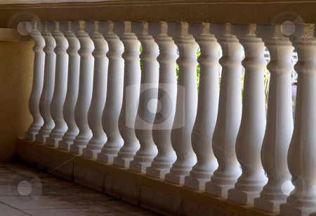 White plaster balistrade railing stock photo, White plaster balistrade and painted stucco support by Jill Reid
