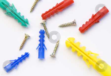 Screws and Dowels stock photo, A lot of screws and dowels of various kinds and colours by Petr Koudelka