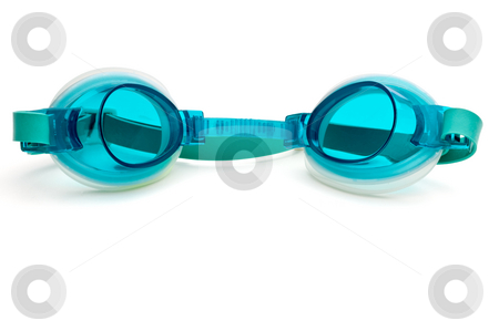 Turquoise plastic swimming goggles on a white surface stock photo, Turquoise plastic swimming goggles on a white surface by Vince Clements