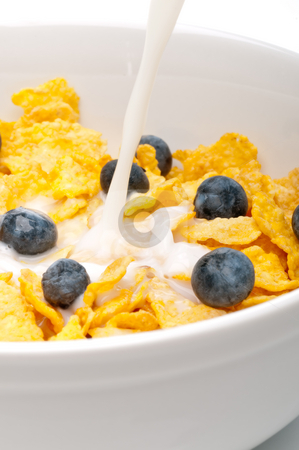 Pouring white milk into a bowl of breakfast flakes stock photo, Vertical view of pouring white milk into a bowl of breakfast flakes with blueberries by Vince Clements