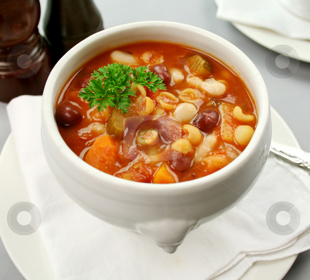 Minestrone Soup stock photo, Delicious Italian minestrone soup ready to serve. by Brett Mulcahy