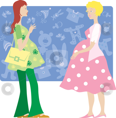 Two pregnant ladies stock vector clipart, Two pregnant ladies talking by Vanda Grigorovic