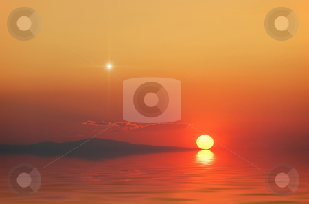 Magical sunset stock photo, Surreal magical sunset on with star in the sky. by Ivan Paunovic