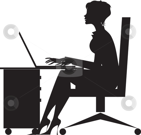 Woman working at desk stock vector clipart, A black and white silhouetted vectopr illustration of a woman working on a laptop computer while seated at a desk. by Vanda Grigorovic