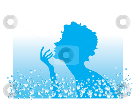 Water in SPA procedures stock vector clipart, Silhouette of a lady in water beauty procedure by Vanda Grigorovic