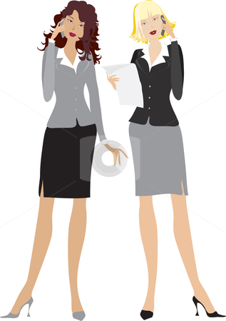 OFFICE GIRLS stock vector clipart, An illustration showing two office women  isolated on a white background. by Vanda Grigorovic