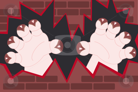 Monster hands coming out of a wall stock vector clipart, Monster hands with claws coming through a broken wall by Karin Claus