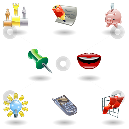 Glossy Business and Office Icon Set stock vector clipart, A set of glossy business and office icons by Christos Georghiou