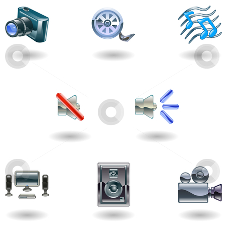 Shiny Media Icons stock vector clipart, A set of shiny slossy media icons by Christos Georghiou