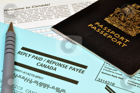 Passport, envelope and form stock photo, Tourism: passport, envelope and Canadian survey form by Fernando Barozza